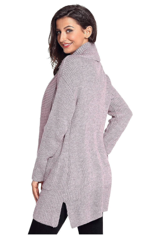 Eastylish Womens Warm Long Sleeve Shawl Neck Plus Size Sweater Jacket Comfy Cozy Chunky Cardigan with Pockets