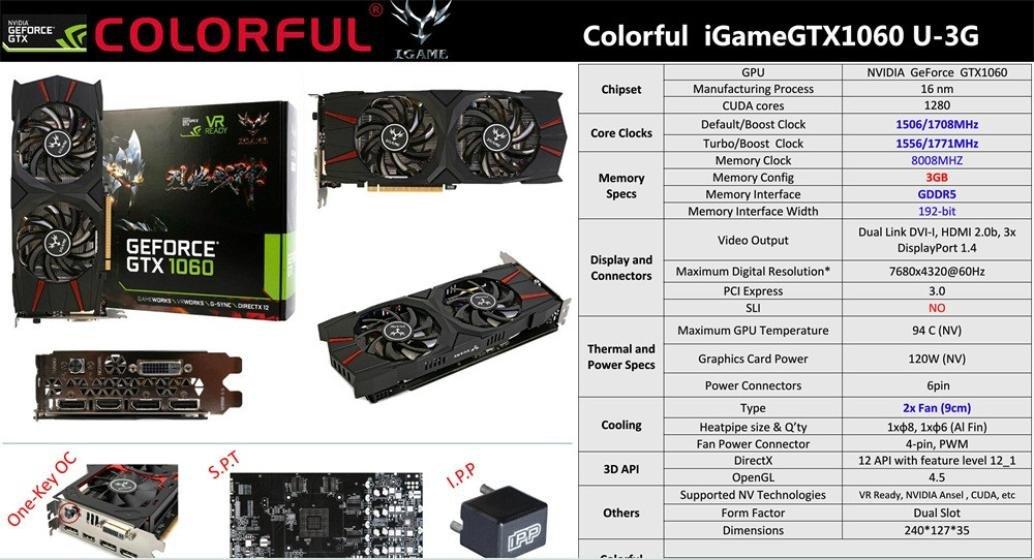 gtx1060 tarjeta gráfica, Turquía Colorful iGame gtx1060 u-3g tarjeta gráfica GDDR5 X juegos de video 1556 - 1771 MHz/8008 MHz i2 m5 para juego anfitrión ...