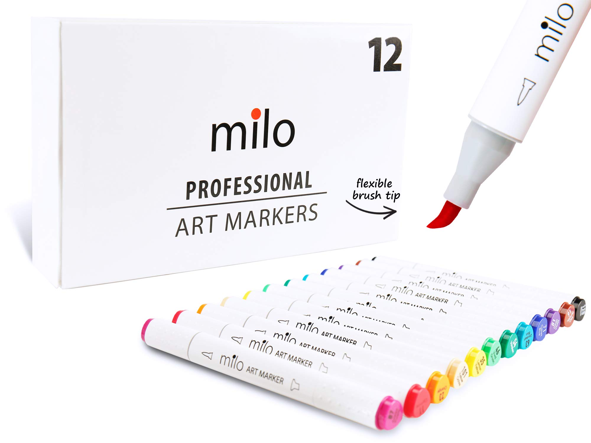 Milo PRO | Art Markers with Brush Tip and Chisel Set of 12 | Alcohol-Based Dual Tip with Soft Flexible Brush Nib