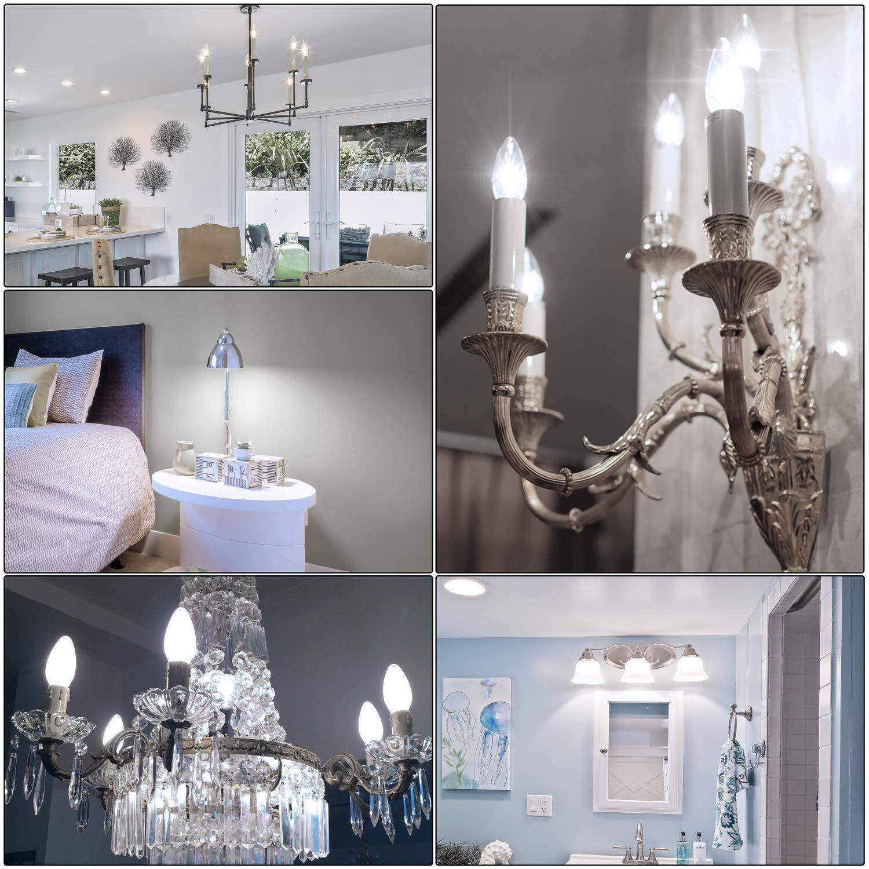 4000K Daylight White Chandelier B11 LED Bulb E12 Base Decorative Candle Light Bulb Pack of 12 SHINE HAI Candelabra LED Filament Bulbs 40W Equivalent