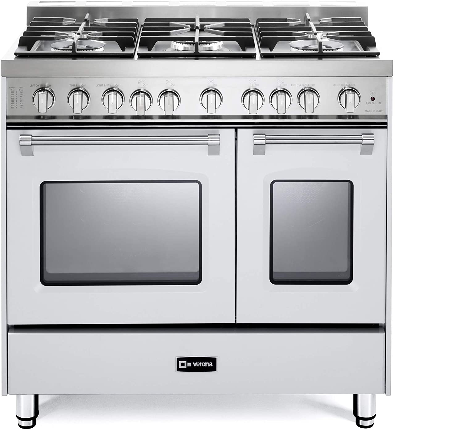 Verona Prestige VPFSGG365DW 36 inch. All Gas Range 5 Sealed Burners Double Oven Convection Storage Drawer True White