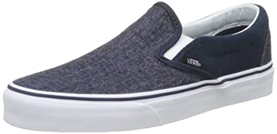 vans classic grey & white slip on skate shoes