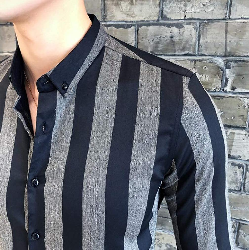 Tralounry Mens Silm Fit Casual Long-Sleeve Bussiness Stripes Printed Shirt