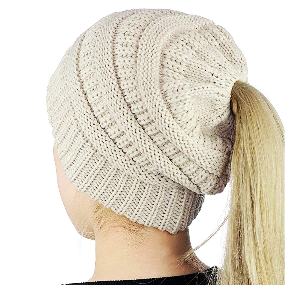 A-Rainbow Beige Winter Cable Knit Ponytail Beanie Soft Stretch Messy High Bun Hat Cap for Women