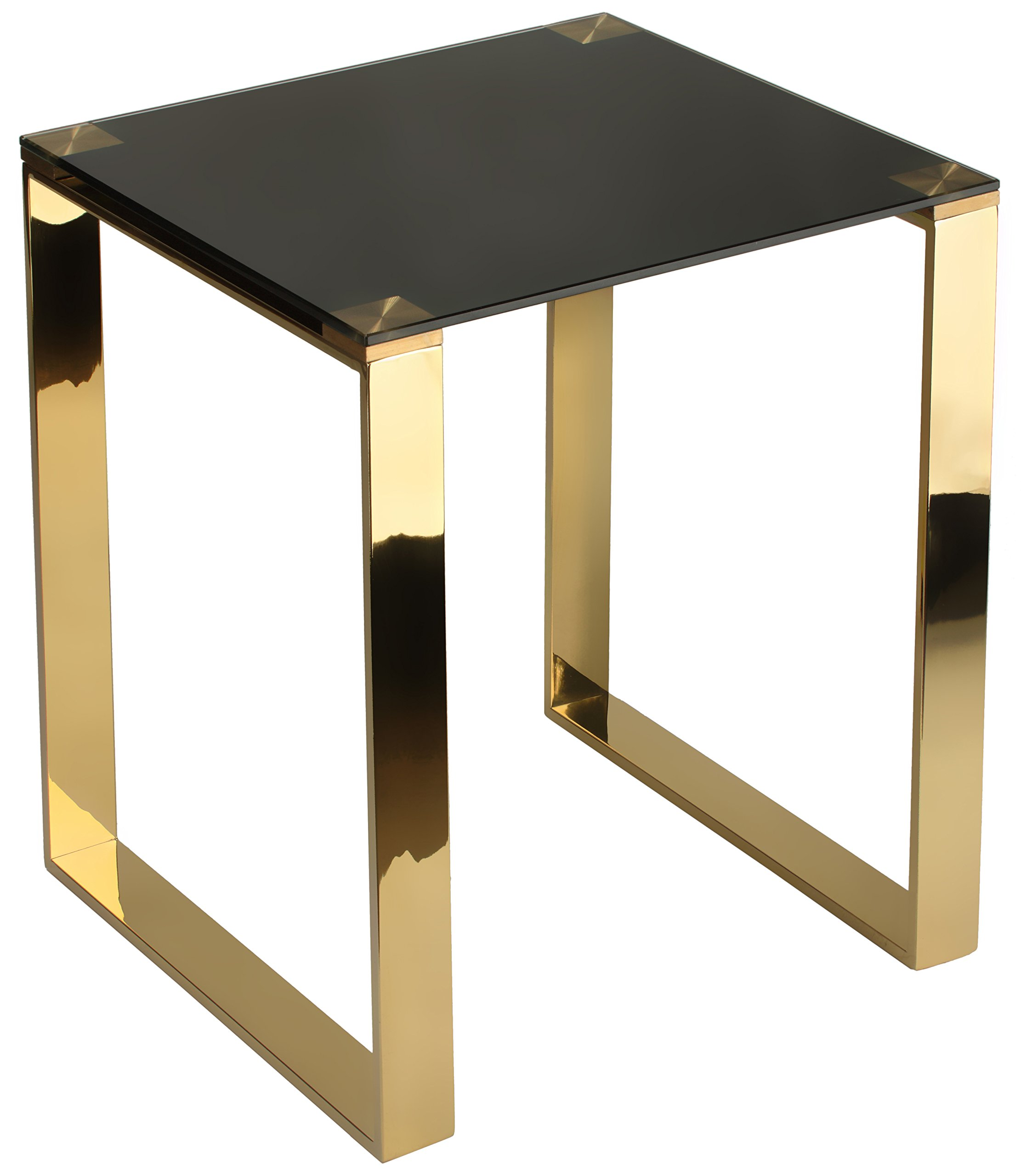 Cortesi Home Remini End Table, Gold Metal and Black Glass - Sleek modern design Black tempered glass Contemporary high gloss gold finish - living-room-furniture, living-room, end-tables - 71SJDKKoehL -