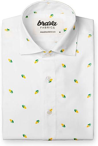 Brava Fabrics | Camisa Hombre Manga Larga Estampada | Camisa Blanca para Hombre | Camisa Casual Regular Fit | 100% Algodón | Modelo Corn Party | Talla 3XL: Amazon.es: Ropa y accesorios