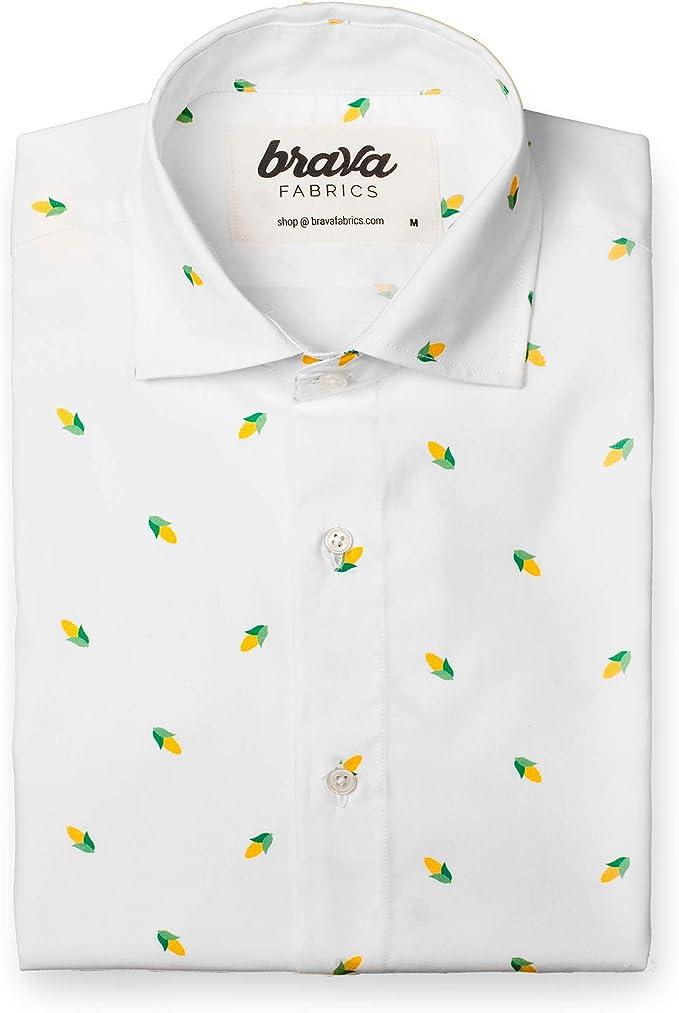 Brava Fabrics   Camisa Hombre Manga Larga Estampada   Camisa Blanca para Hombre   Camisa Casual Regular Fit   100% Algodón   Modelo Corn Party   Talla 3XL: Amazon.es: Ropa y accesorios
