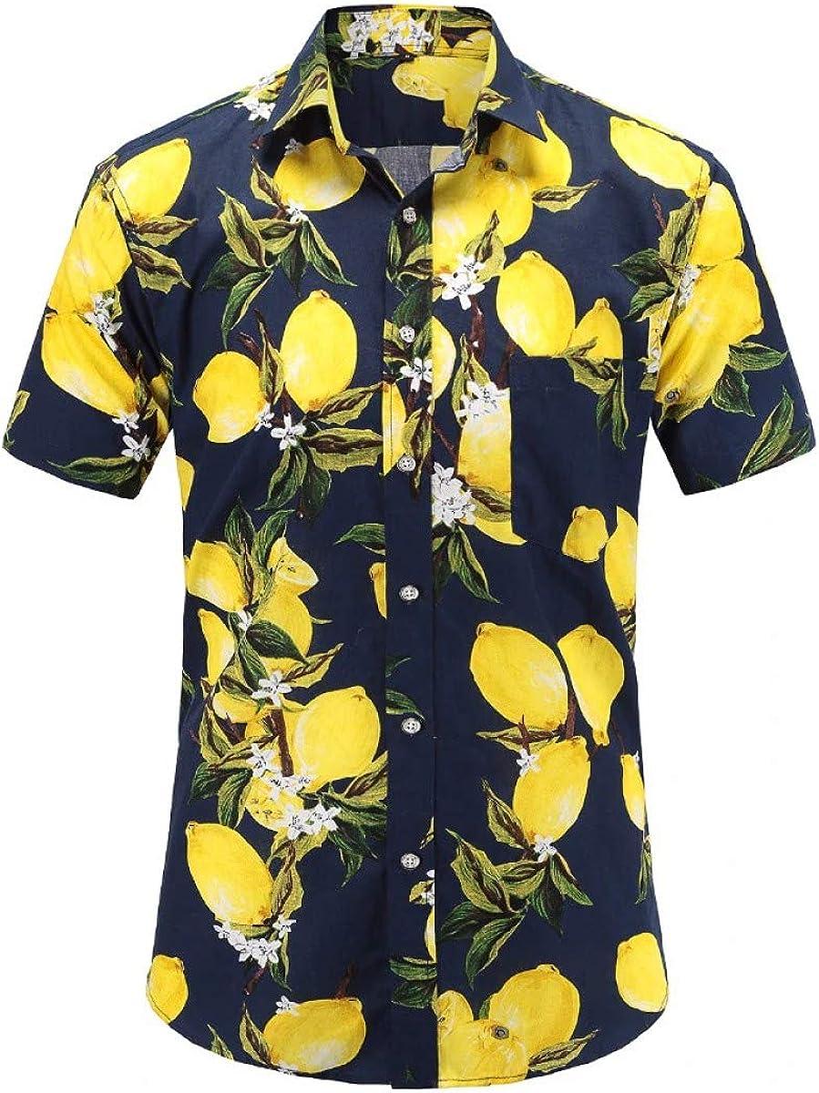 Summer Mens Short Sleeve Beach Hawaiian Shirts Casual Floral Shirts Clothing