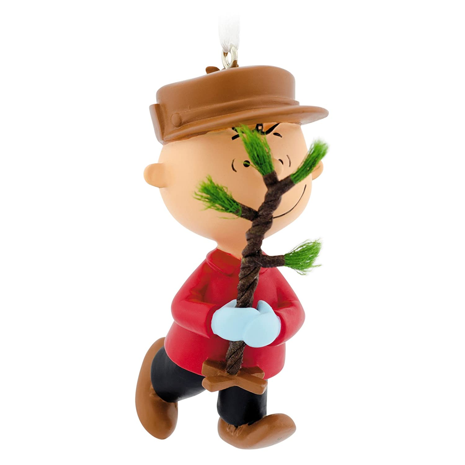 amazoncom hallmark peanuts charlie brown with tree christmas ornament home kitchen