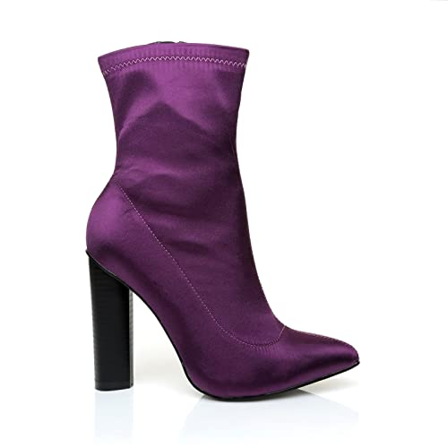 BOOTIE Purple Satin Chunky Heel Lush Pointed Toe Ankle Boots
