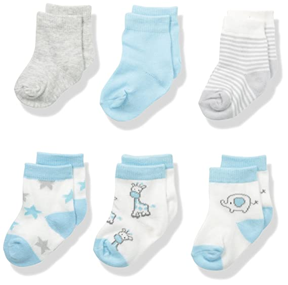 BON BEBE Best Friends Assorted 6 Pack Sock Set, Neutral, 0-9 Months