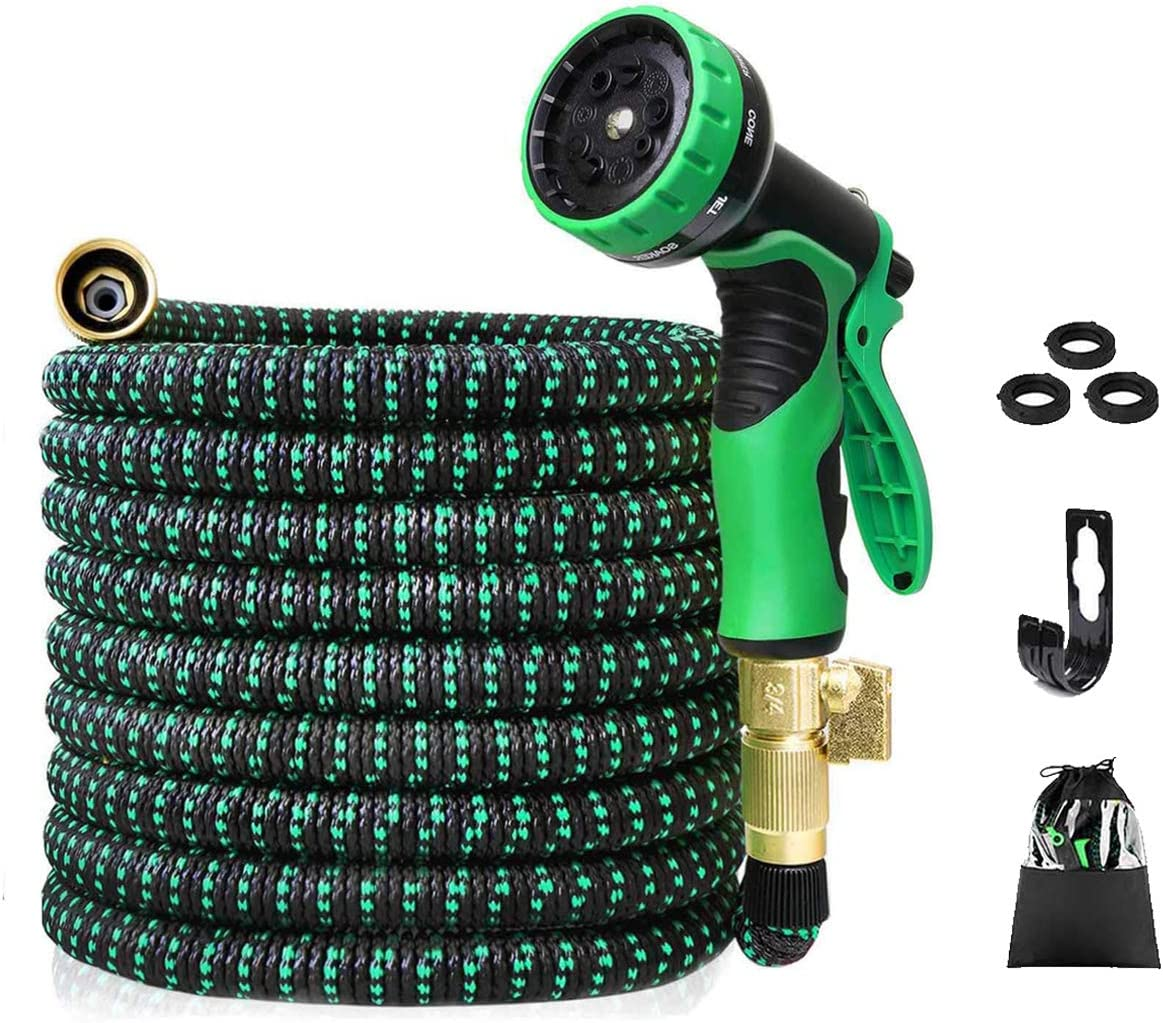 HomSeed Garden Hose, 100 FT Expandable Water Hose with 9 Function Spray Nozzle, Kink Free & Solid Brass Connectors Durable Expanding Hose for House & Car Cleaning Garden Watering