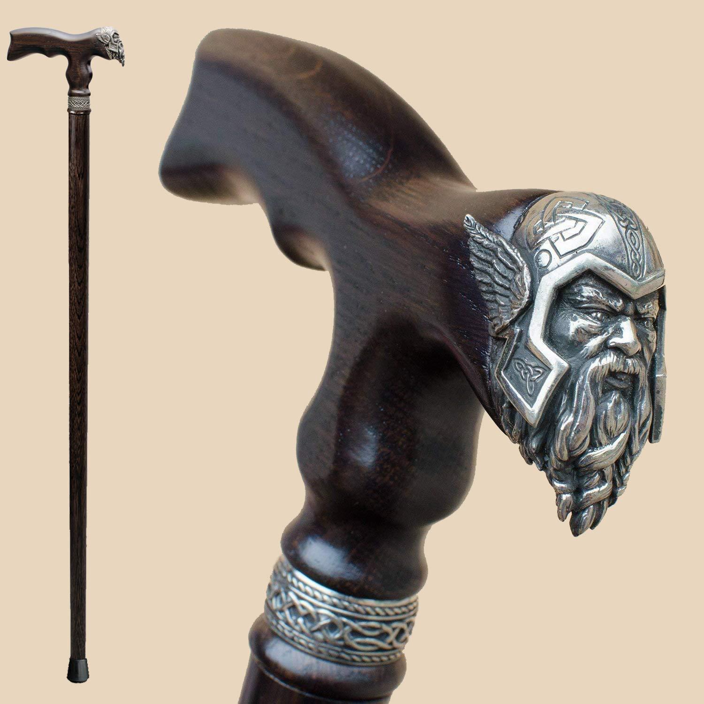 Viking Walking Cane for Men Fashionable - Handmade Fancy Men's Wooden Canes - Thor - Stylish Walking Sticks by Asterom
