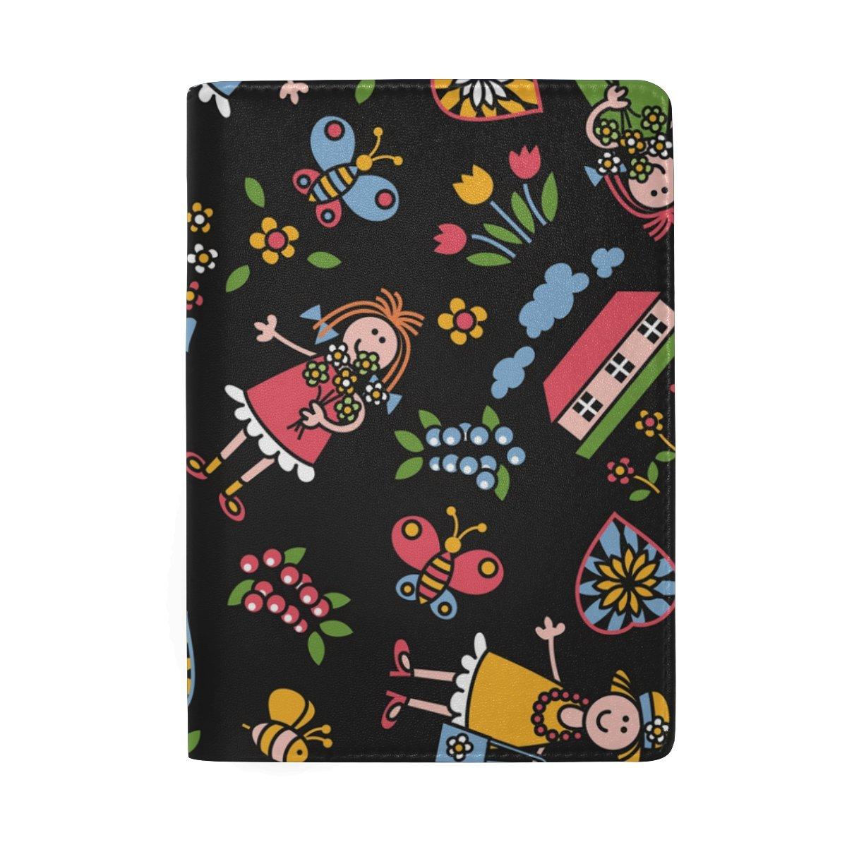 Flower Girl Real Leather Passport Holder Wallet Case Cover for Men Women