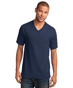 Port & Company Men's 54 oz 100% Cotton V Neck T Shirt XXL Navy
