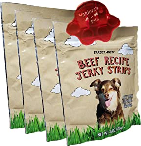 Beef Jerky Dog Treats Bundle   Set Includes 4 Bags of Beef Recipe Jerky Strips by Trader Joe's NET WT .6 OZ (170G) Each with 1 Bag Clip for Freshness by Ahlora's Pets 5 Item Set (Beef Recipe 4 Pack)
