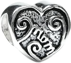 Sterling Silver Heart Love Mum Military Mom Rose Flower Family Bead F/European Charm Bracelet Mother's Day gift