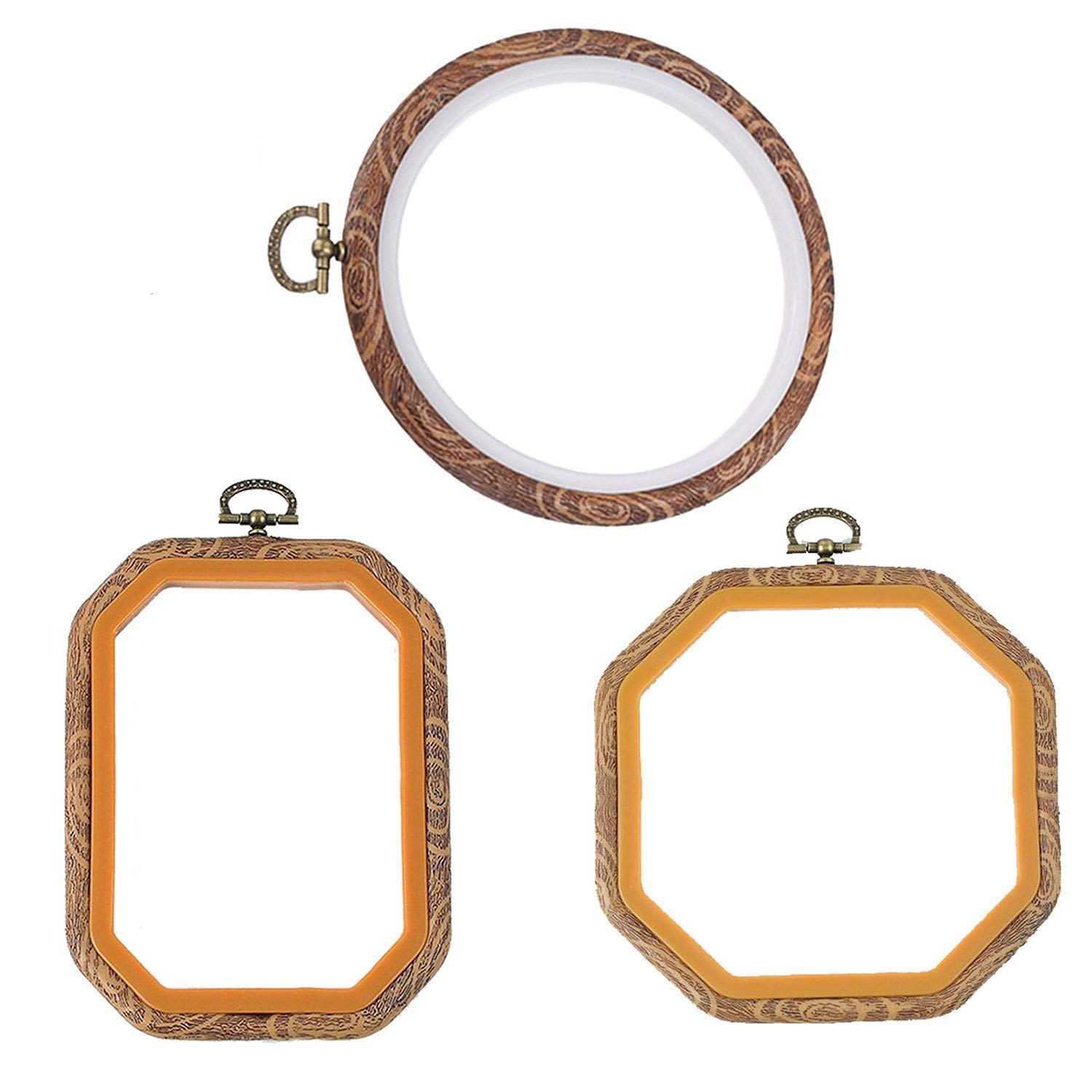 HoLeis 3 PCS Embroidery Hoops Cross Stitch Hoop Bulk Imitated Wood Embroidery Sets (1 Circle+1 Octagon+1 Rectangle)