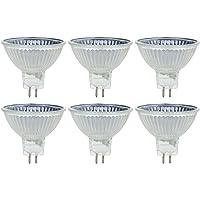 SunLite 20MR16/CG/FL/12V 20-watt halógeno MR16GU5.3Bombilla Base Mini Reflector, Guardia de la cubierta, 50 W, Paquete de 6