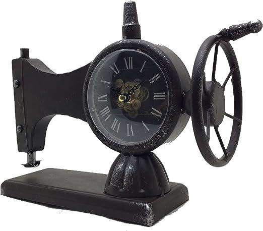 Reloj De Mesa Máquina de coser, Reloj de pie, chimenea Reloj, Reloj de metal 33 x 12 x 23 cm: Amazon.es: Hogar