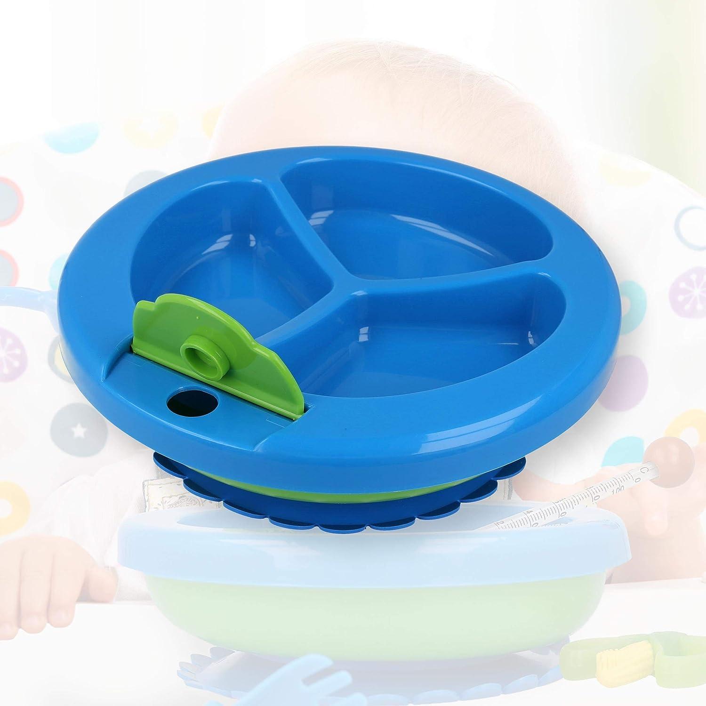 Lantelme Baby Warmhalteteller Bei/ßring Kinderbesteck Set blau Kindergeschirr Thermoteller 7993