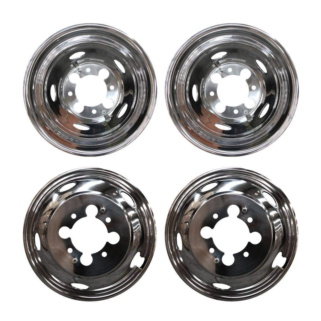 MGPRO 4pcs For Front+Rear Polished Stainless Steel 17in. Dually 8-Lug 5-Hand Hole Wheel Simulators Hub Caps Skins Liners Covers R17 with Removable Centre Caps For 03-14 Dodge Ram 3500 Dually by Mgpro