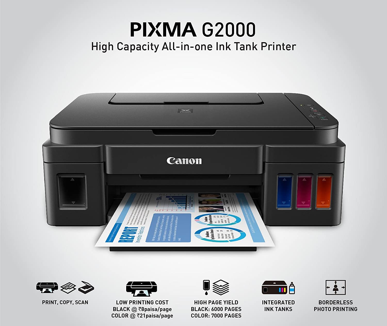 Canon Pixma G2000 All-in-One Ink Tank Colour Printer (Black): YES ...