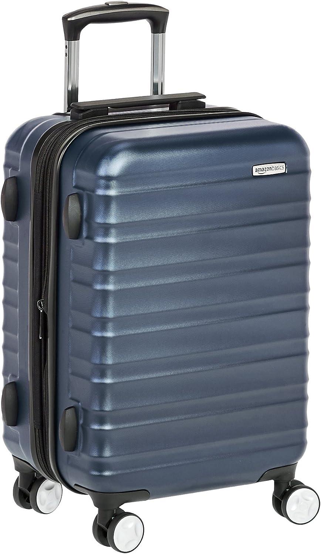AmazonBasics - Maleta de mano rígida de alta calidad, con ruedas y cerradura TSA incorporada, 55 cm, Azul marino