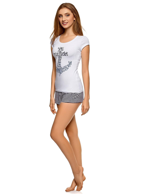 oodji Ultra Mujer Pijama con Pantalón Corto y Estampado en el Pecho: Amazon.es: Ropa y accesorios