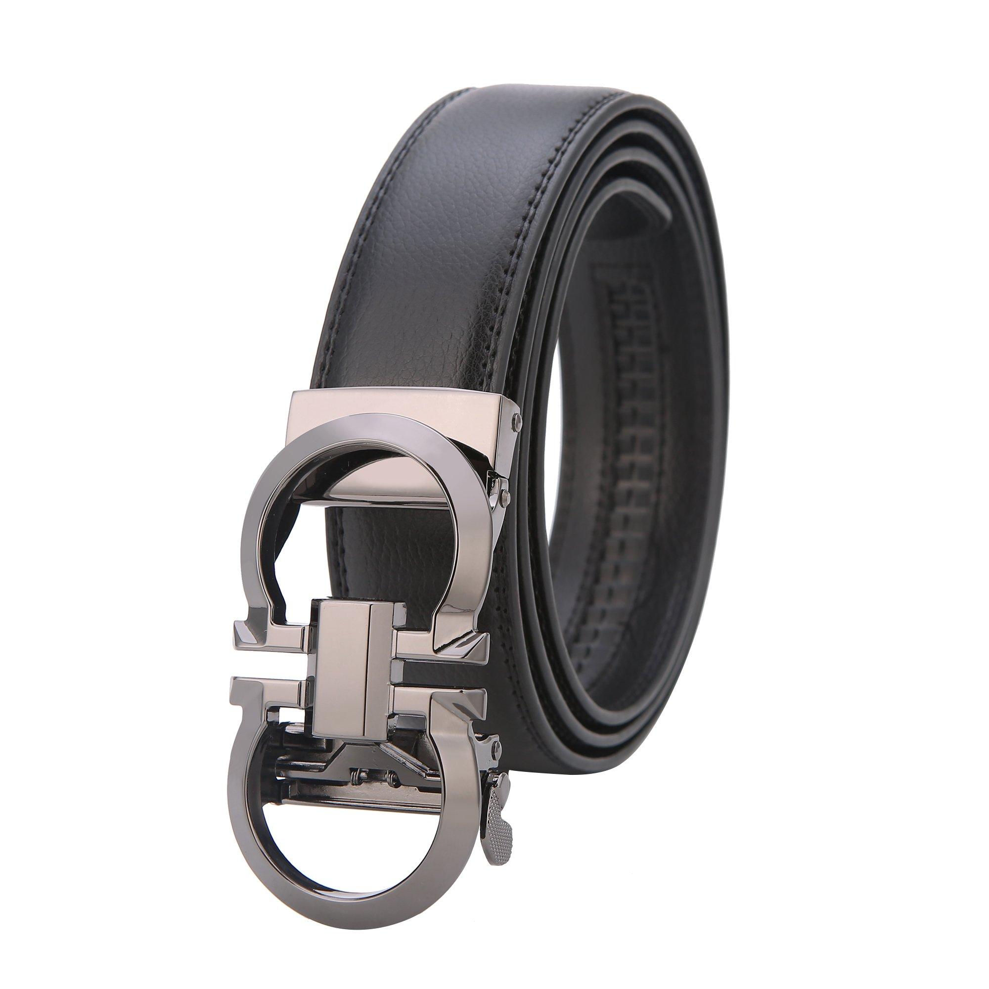 Mens Genuine Leather Ratchet Dress Belt Click on Width 1.38'' (black-Gun, 27''-48'')