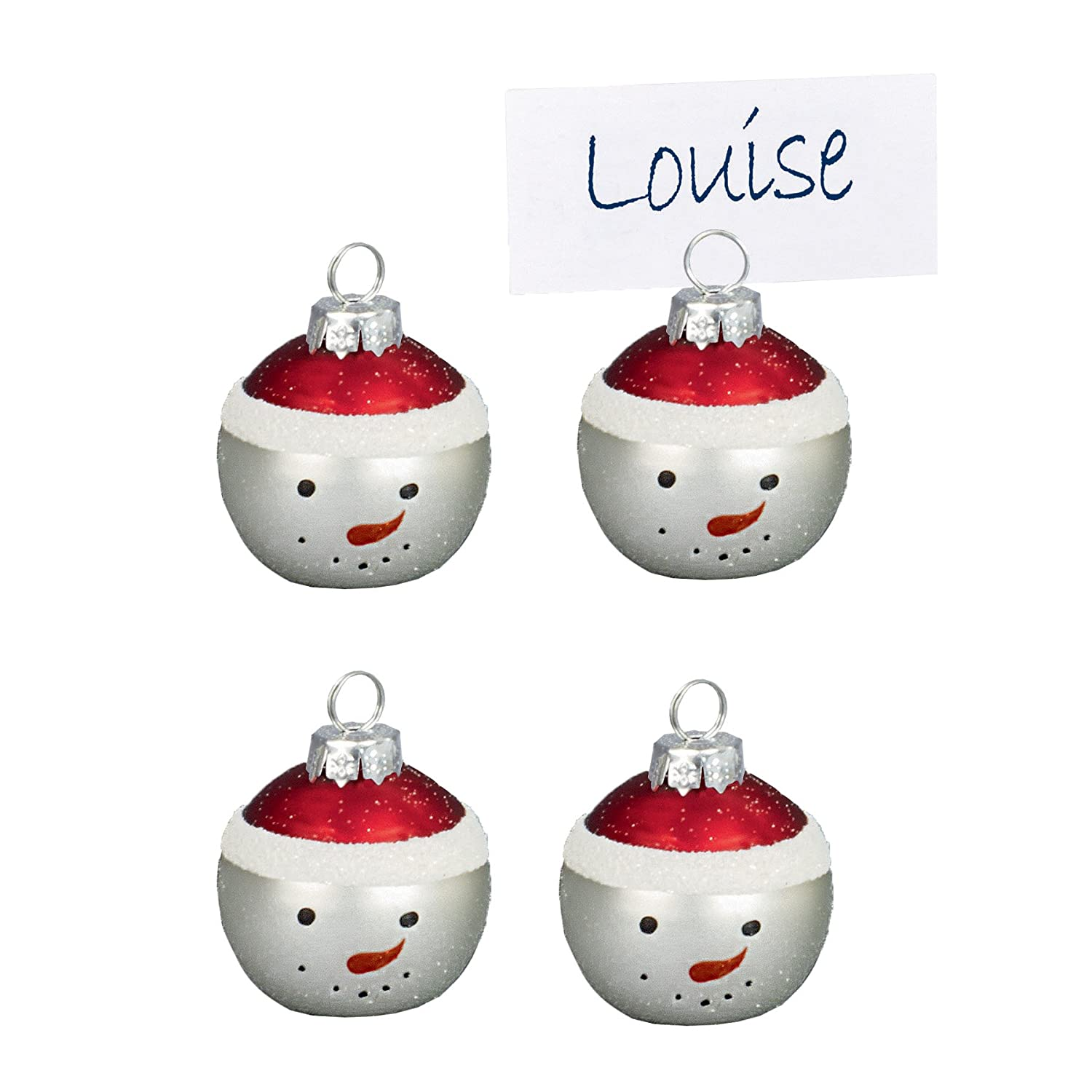 Christmas Set of 4 Glass Bauble Table Name Place Card Holder - Snowman Premier Decorations