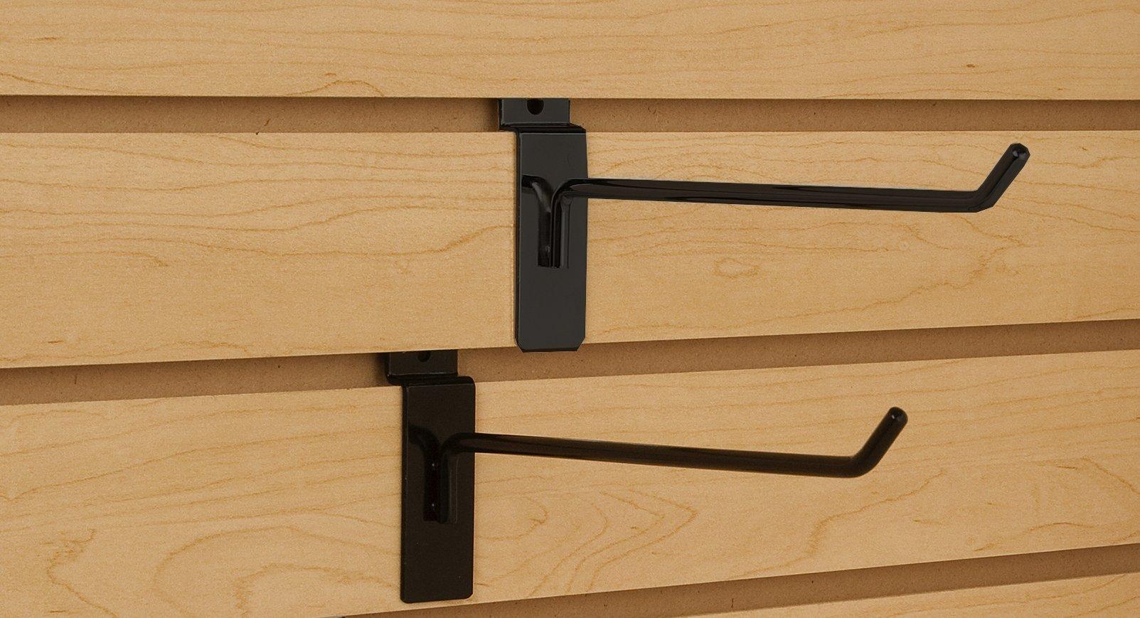 Only Garment Racks Commercial Grade Slatwall Panel Hooks - Heavy Duty Slatwall Hooks for Any Retail Display, Assortment Pack of 25 - 4'' Slatwall Hooks + 25 - 6'' Slatwall Hooks - Black Finish