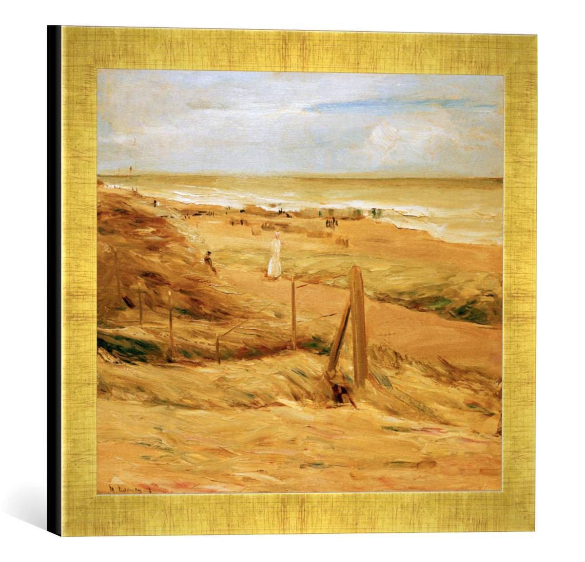 Gerahmtes Bild von Max Liebermann Dünenpromenade, Kunstdruck im hochwertigen handgefertigten Bilder-Rahmen, 40x30 cm, Gold Raya
