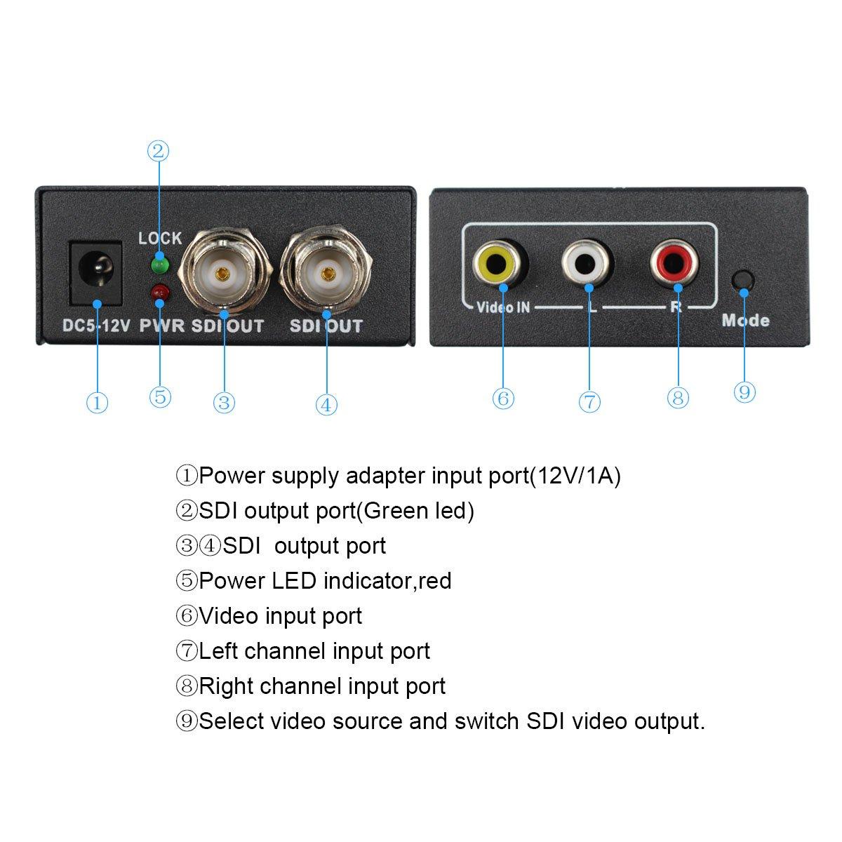 Wiistar AV CVBS to 3G-SDI Audio Video Converter Composite to SDI Converter Support 1080P for CRT HDTV to Camera by Wiistar (Image #4)