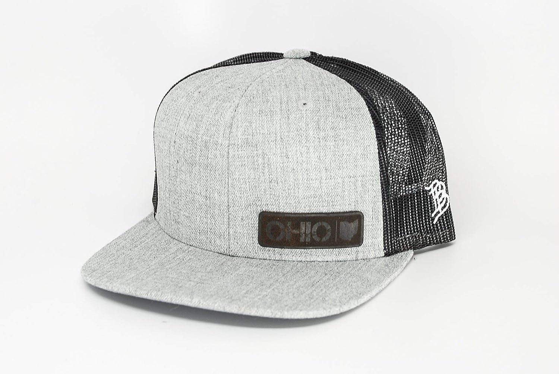 Branded Bills Midnight Ohio Native Black Leather Patch Hat Flat Trucker