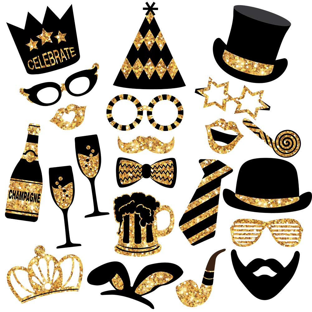 CDM product Gold Photo Booth Props (No Glitter) - Mix of Hats, Lips, Mustaches, Crowns and More (22 pcs) - Durable and Vibrant - Perfect for Birthday Parties, Weddings and More big image