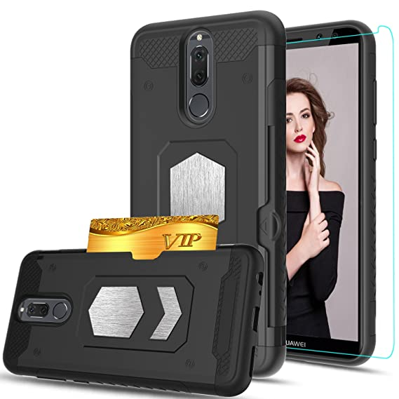 finest selection ec5fa b958d Huawei Mate 10 lite/Huawei Nova 2i Case With HD Phone Screen  Protector,Ymhxcy [Card Slots Wallet Holder] Magnetic Car Mount Armor Dual  Layer ...