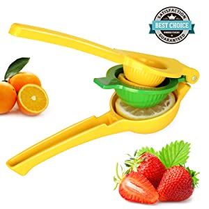 HEYFIT Citrus Juicer Hand Lemon Juicer Manual Lemon Lime Squeezer Metal Citrus Press Orange Juice Extractor Yellow