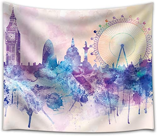 wall26 – Hues of Purples and Pinks Splattered Paint on The City of London with The Big Ben and The London Eye – Fabric Tapestry, Home Decor – 68×80 inches