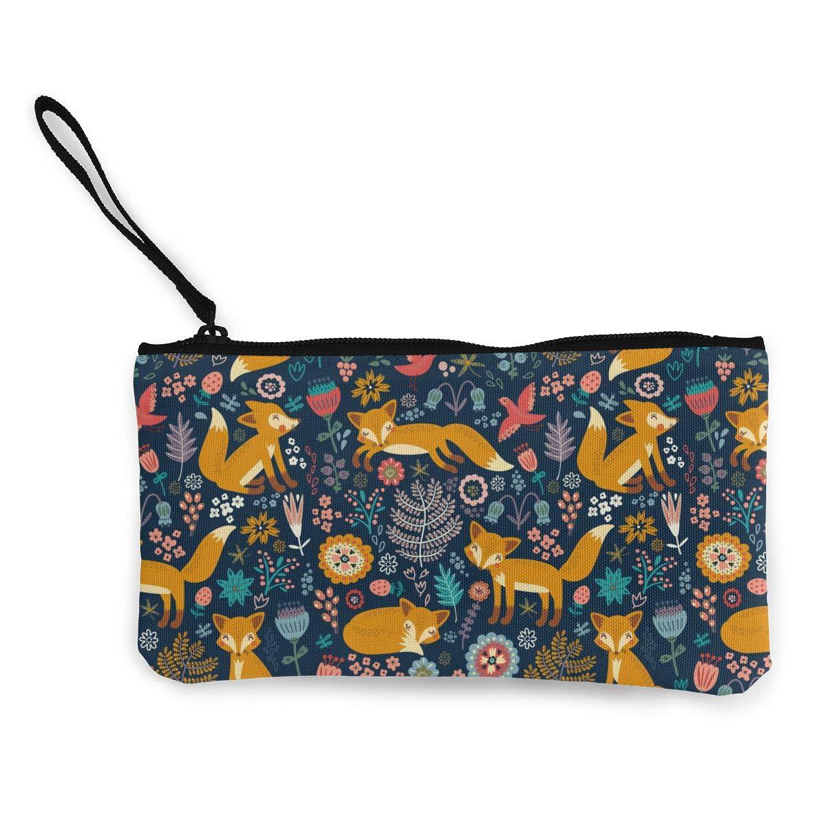 02bb78cb7942 Canvas Coin Purse Fox Floral Pattern Change Cash Bag Zipper Small ...