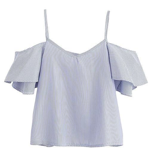 HARRYSTORE Top de la chaqueta del hombro de la blusa de la tela de algodón de las mujeres de la mane...