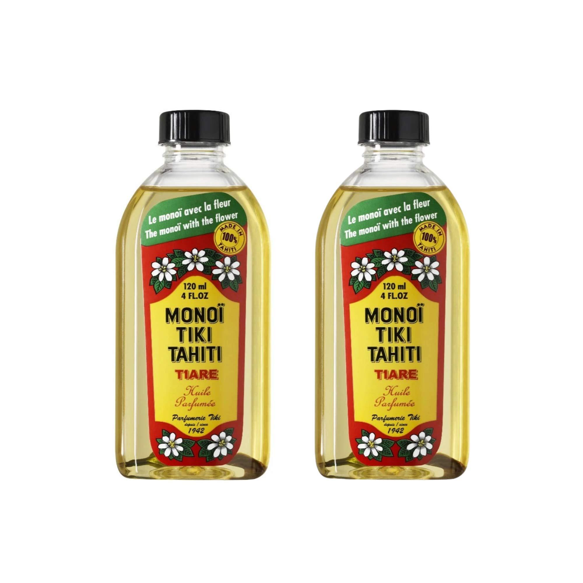 Monoi Tiki Tahiti - Tiare Coconut Oil - Original Tahitian Gardenia Fragrance - For Hydrated Skin and Hair - 4 fl. oz. (Pack of 2)