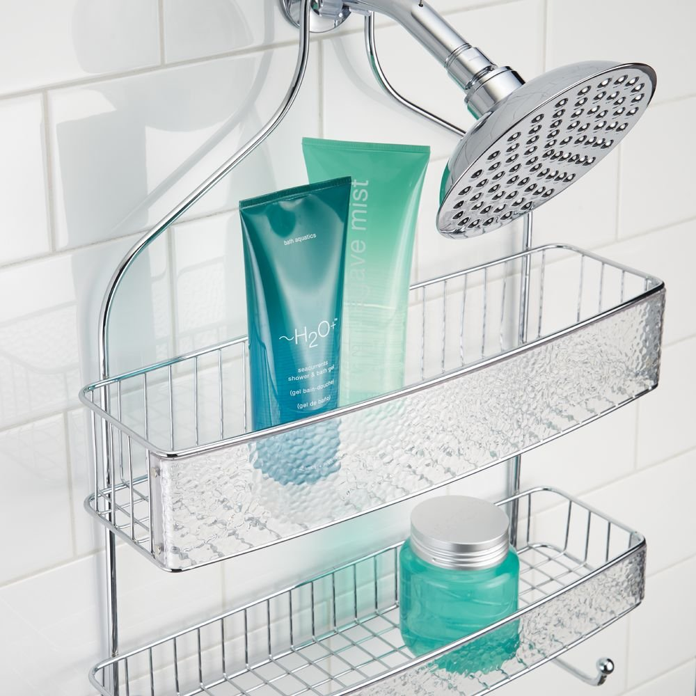 InterDesign Rain Hanging Shower Caddy – Wide Bathroom Storage Shelves for Shampoo, Conditioner and Soap, Clear/Chrome by InterDesign (Image #6)