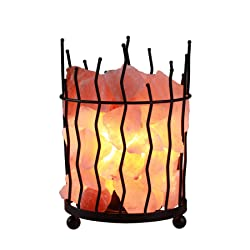 CO-Z Himalayan Small Dimmable Salt Lamp, Desk Light with Natural Glow Himalayan Salt Crystals, Table Lamp with Dimmer, Real Himalayan Metal Salt Rock Black Lamp