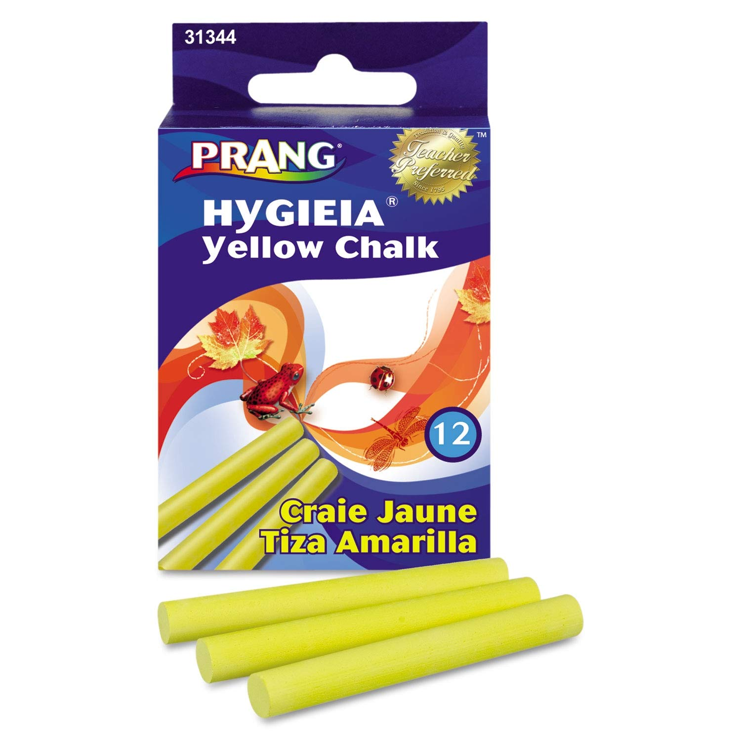 Prang Hygieia Dustless Board Chalk, 3 1/4 x 3/8, Yellow, 12/Box - 31344- Pack of 20 by Prang