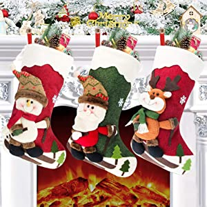 """Yostyle Christmas Stockings, 18"""" Big Stockings Set of 3 Xmas Character Santa, Snowman, Reindeer 3D Plush Christmas Tree Home Decorations and Party Accessory"""