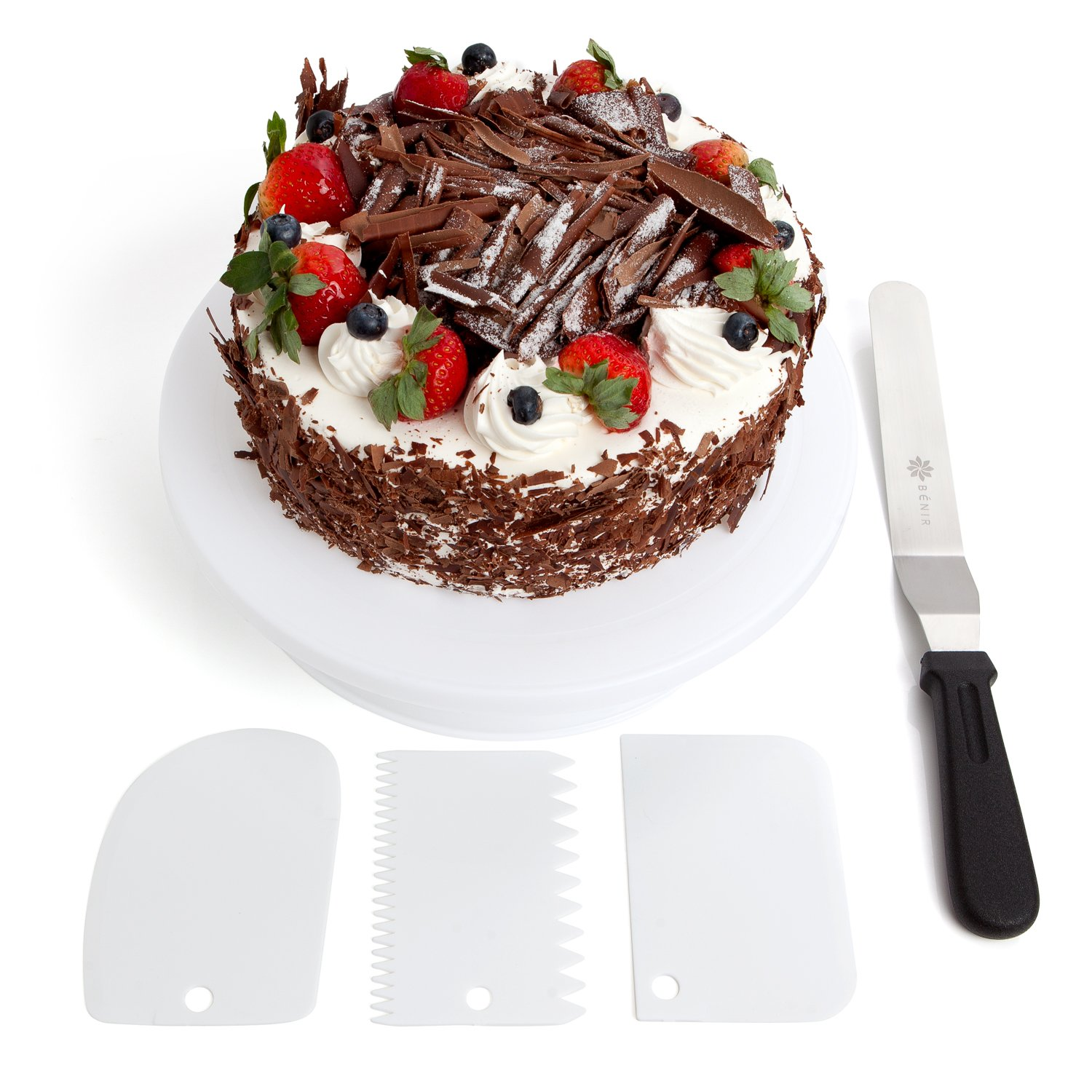 """11"""" Rotating Cake Turntable Decoration Kit w/Cake Stand, 12.7"""" Angled Icing Spatula, Icing Smoother & Decorating Comb"""