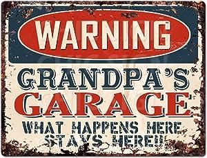 Warning Grandpa'S Garage Tin Chic Sign Vintage Retro Rustic 9