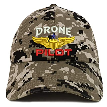 b6794f283 Trendy Apparel Shop Drone Pilot Aviation Wing Embroidered Soft Crown 100%  Brushed Cotton Cap