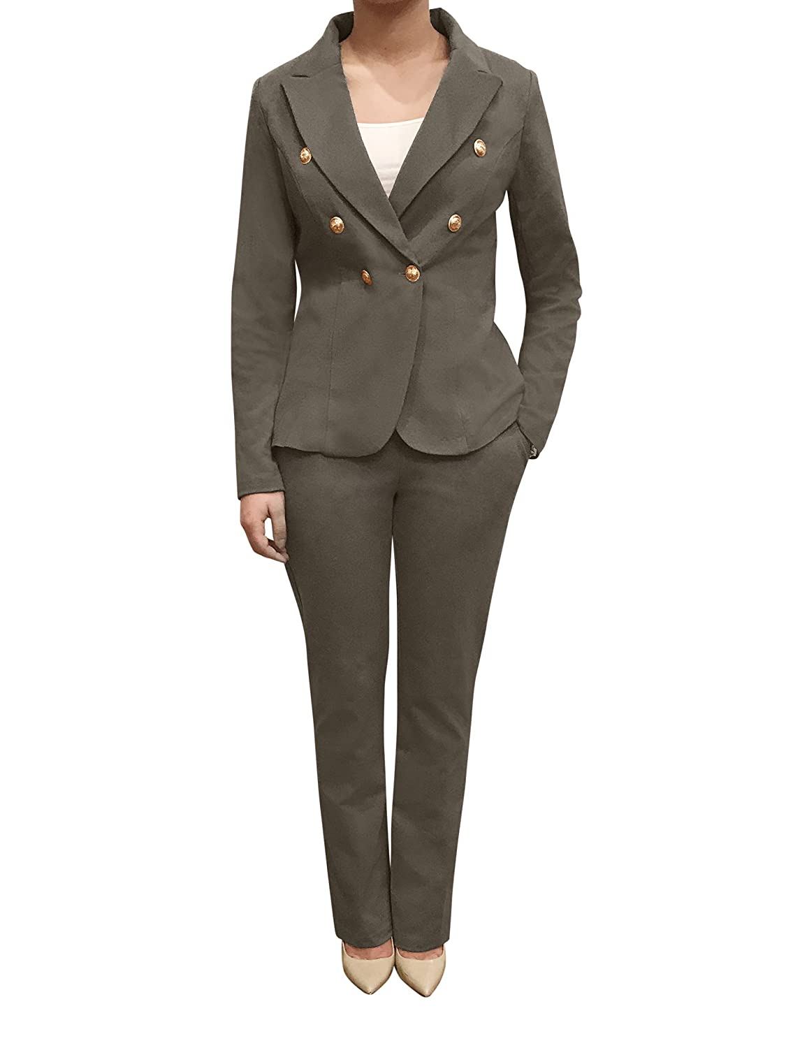 Charcoal OrlyCollection Double Breasted Casual Work Office Blazers for Women Jacket with gold Button on The Sleeves Made in USA